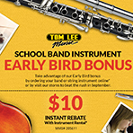 School Band Instrument Early Bird Bonus