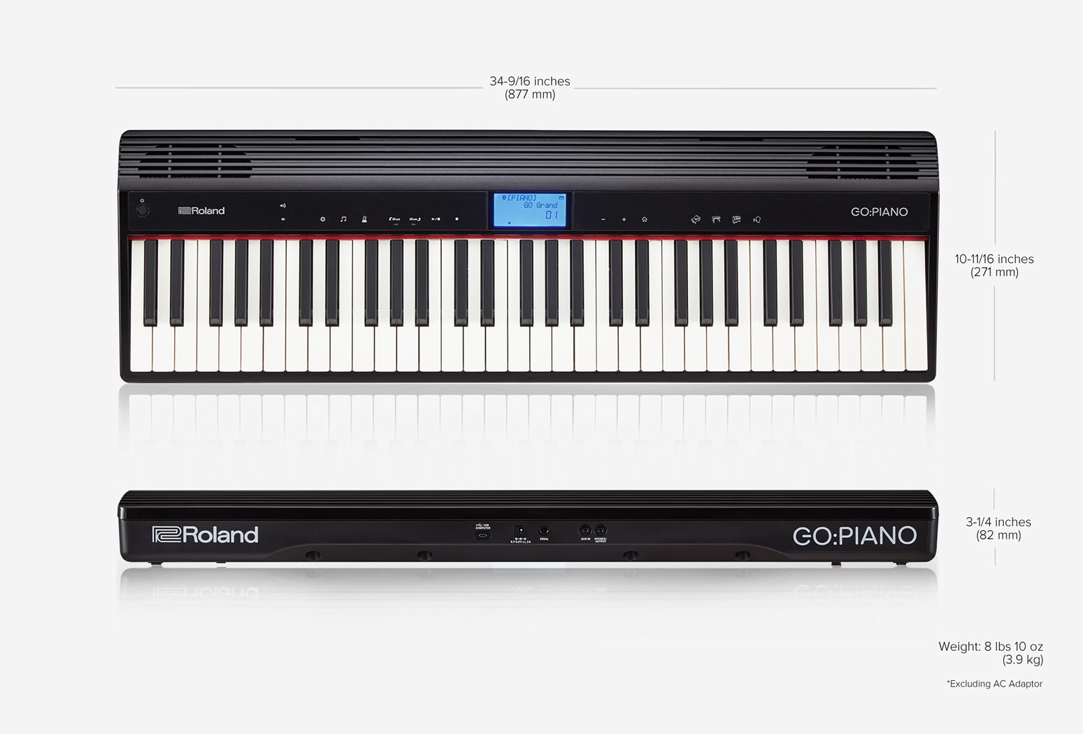 Go 61p go piano 61 note digital piano tom lee music for Small size piano